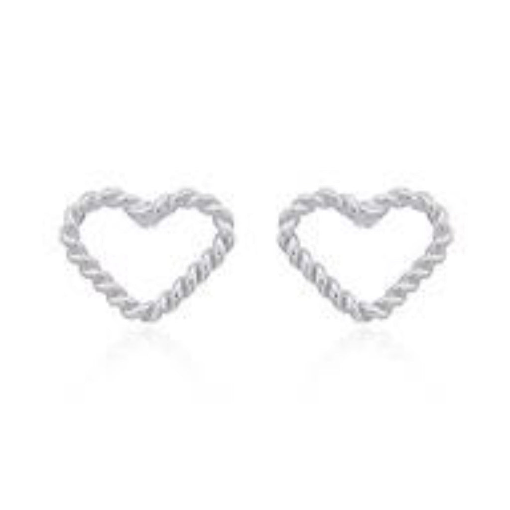 Sterling Silver Twisted Heart Studs