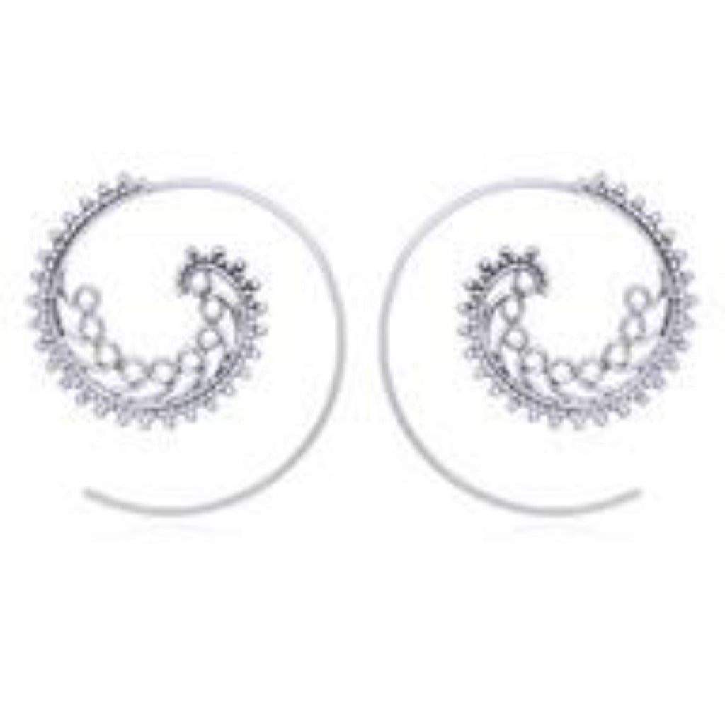 Sterling Silver Wave Spiral Hoop Earrings