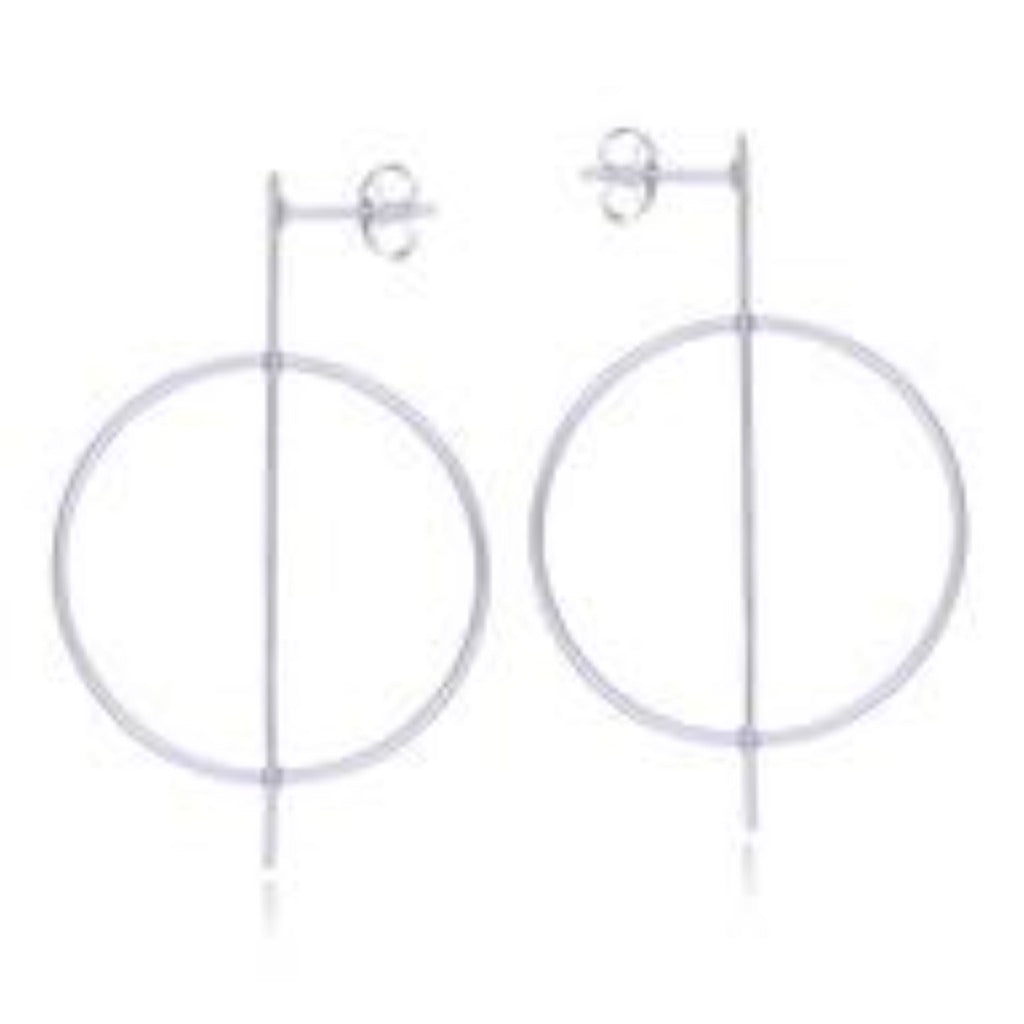 Sterling Silver Circle Statement Bar Earrings