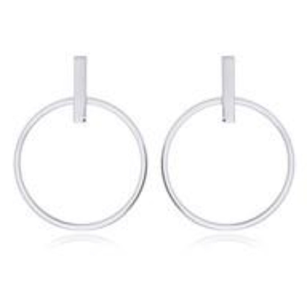 Sterling Silver Bar Stud 30 mm Hoop Earrings
