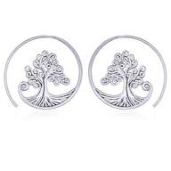 Sterling Silver Spiral Tree of Life Earrings