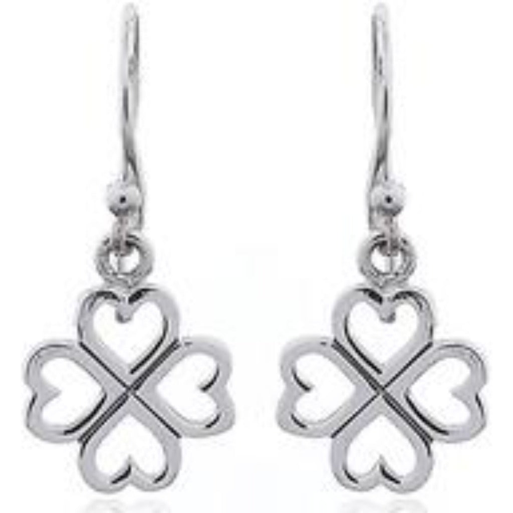 Sterling Silver Four Love Clover Drops