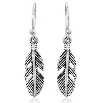 Sterling Silver Oxidized Feather Drops