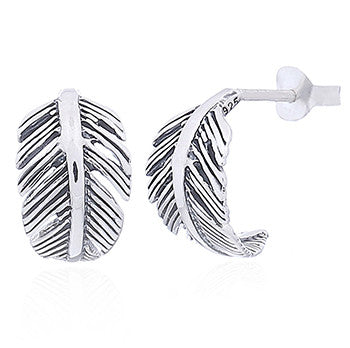 Sterling Silver Curved Feather Studs