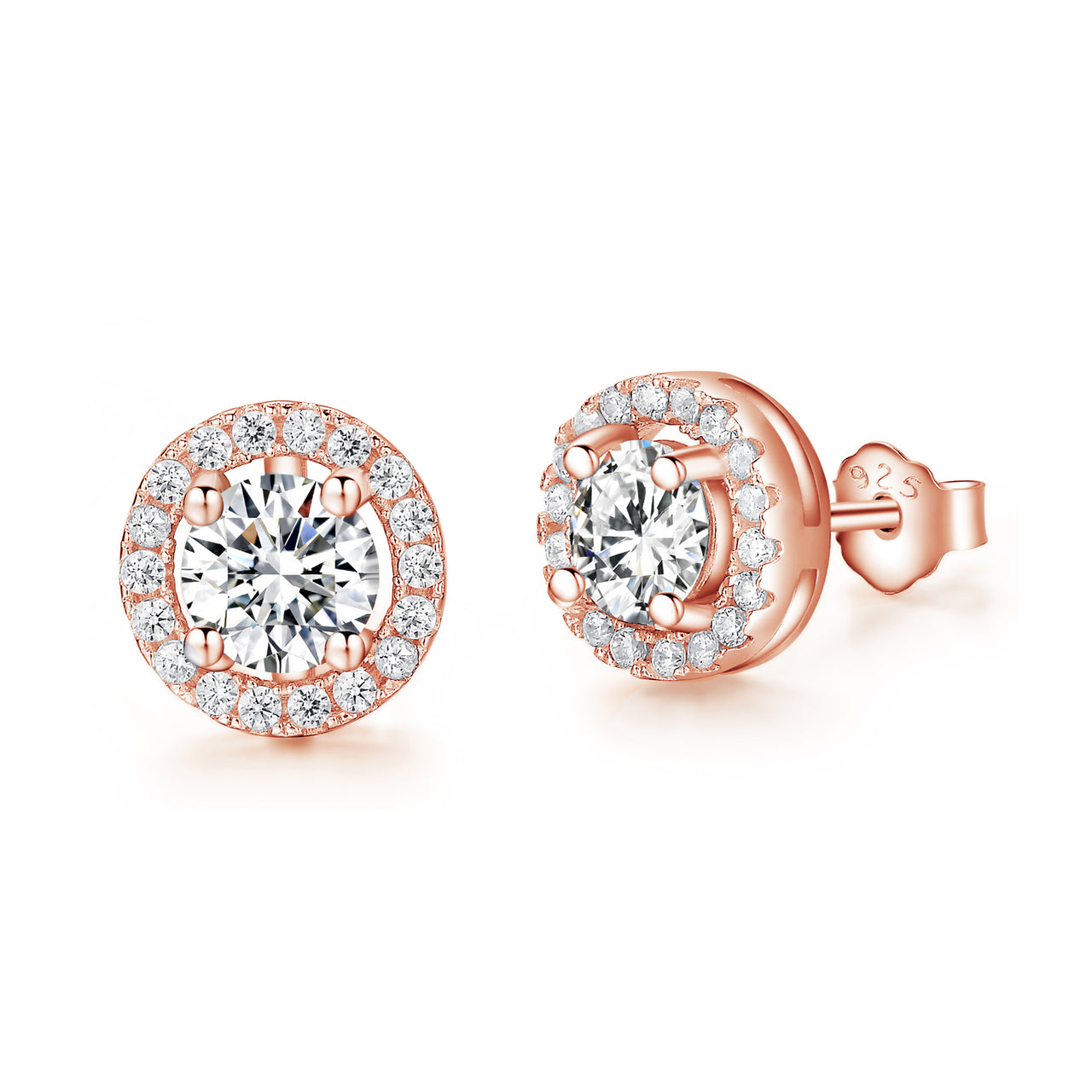 Sterling Silver Rose Gold Sparkle Halo Stud Earrings