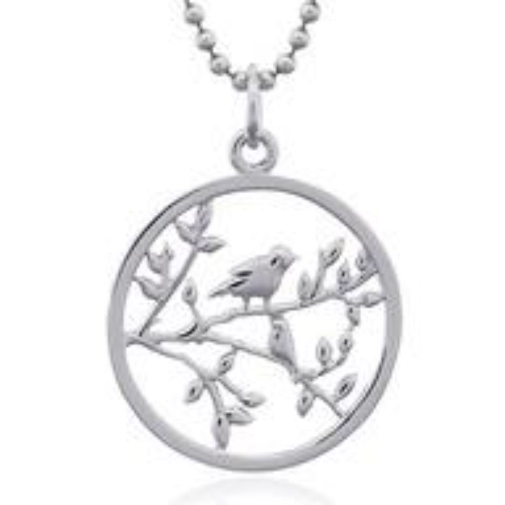 Sterling Silver Bird in Branch Pendant
