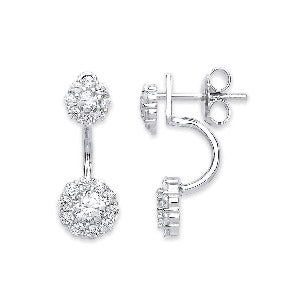Sterling Silver Cubic Zirconia Two Way Wear Earrings