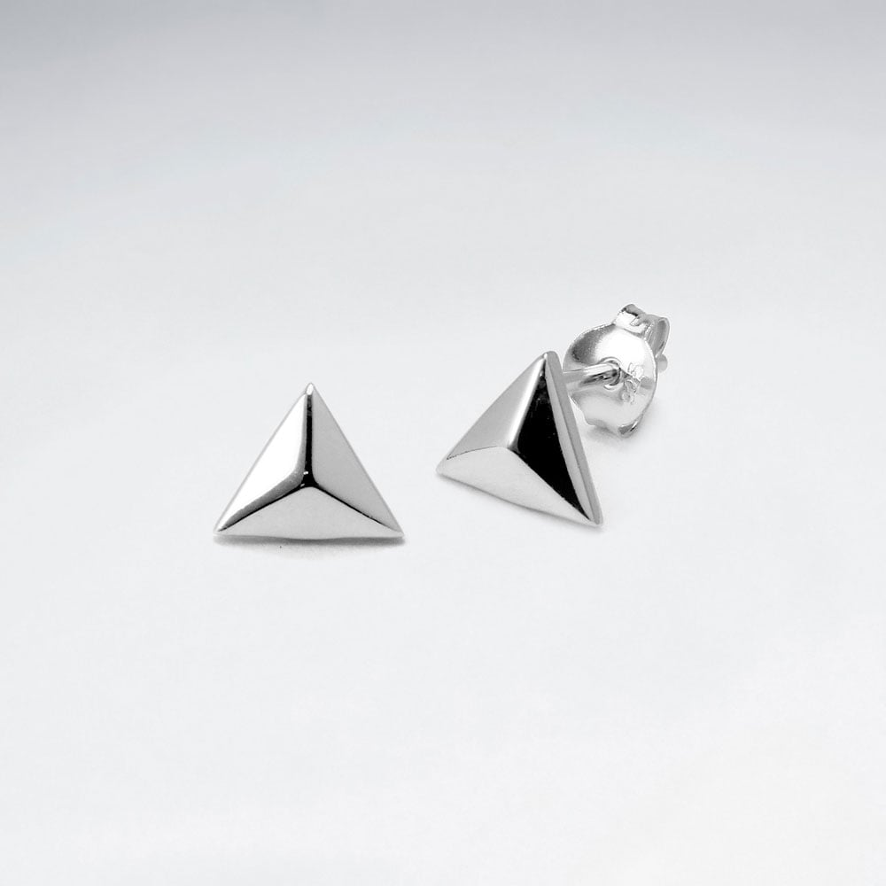 Sterling Silver 3D Triangle Stud Earrings