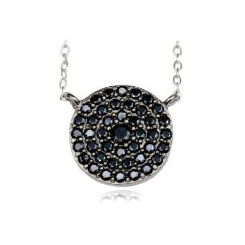 Sterling Silver Black Diamante Necklace and Earring Set