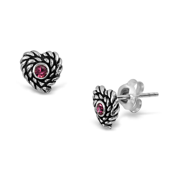 Sterling Silver Twist Textured Love Heart Studs