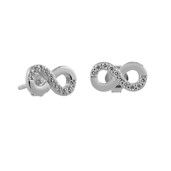 Sterling Silver Diamante Infinity Studs