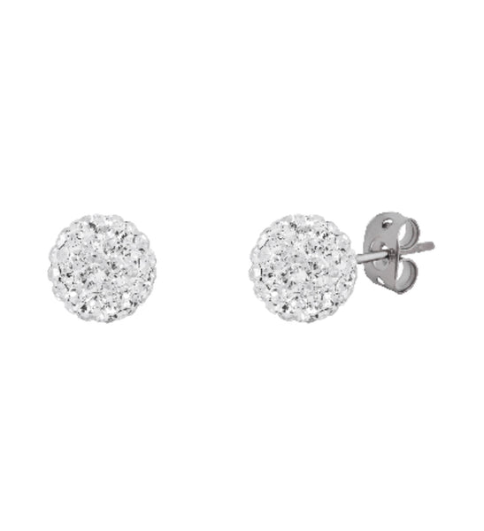 Sterling Silver Crystal 6 mm Ball Studs