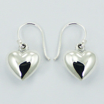 Sterling Silver Puffed Heart Drop Earrings