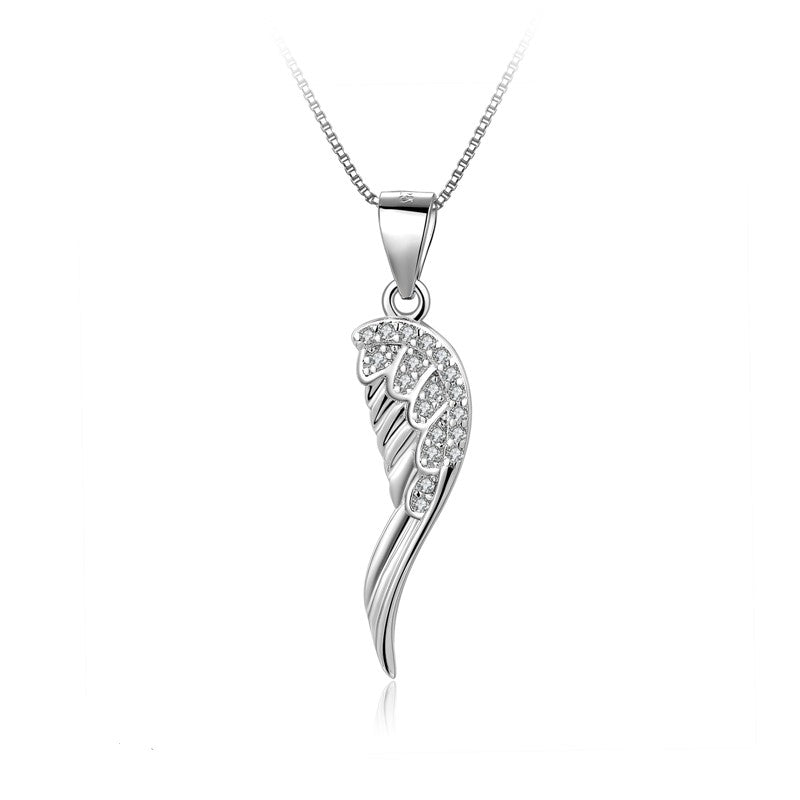 Sterling Silver Embellished Angel Wing Necklace