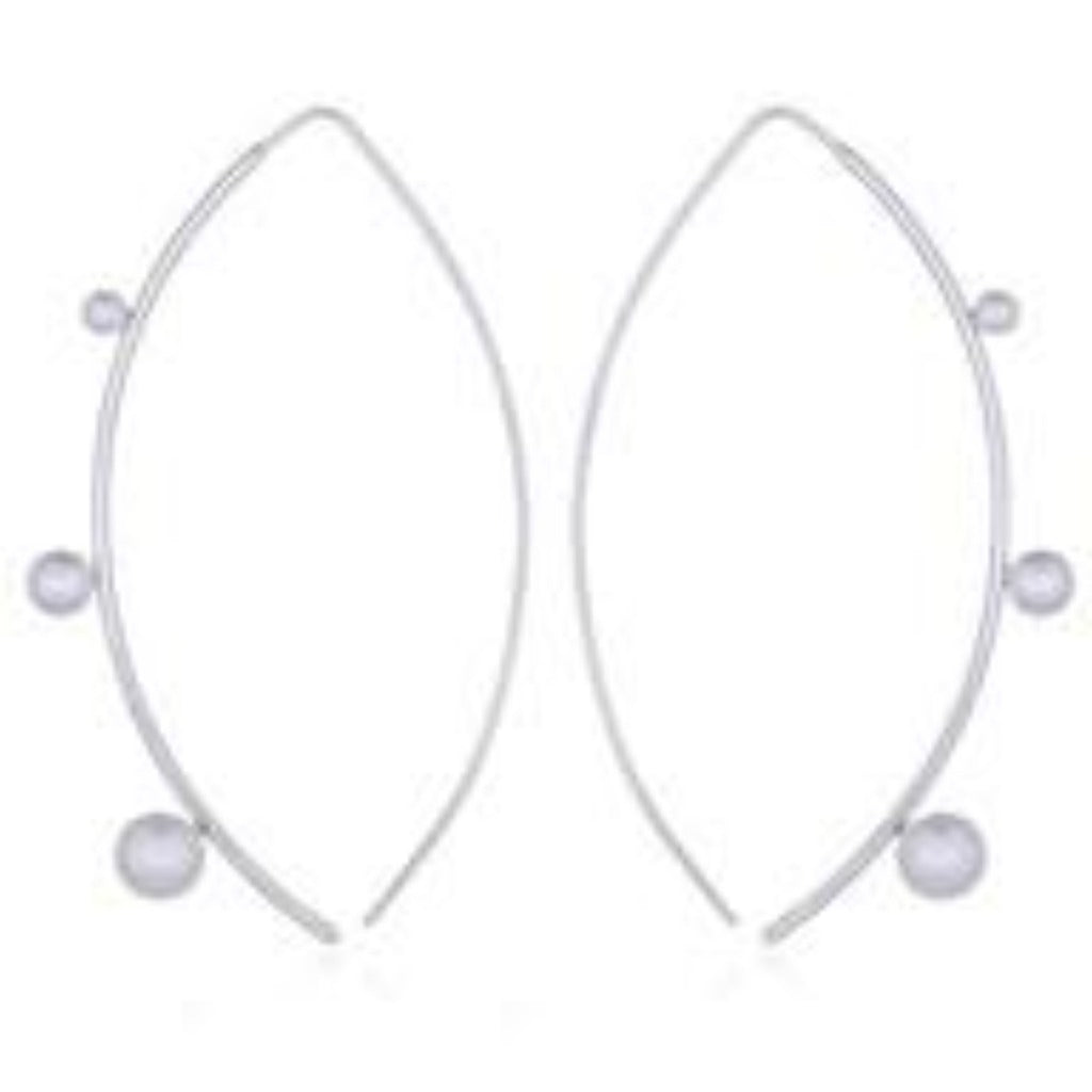 Sterling Silver Arched Pearl Drop Earrings