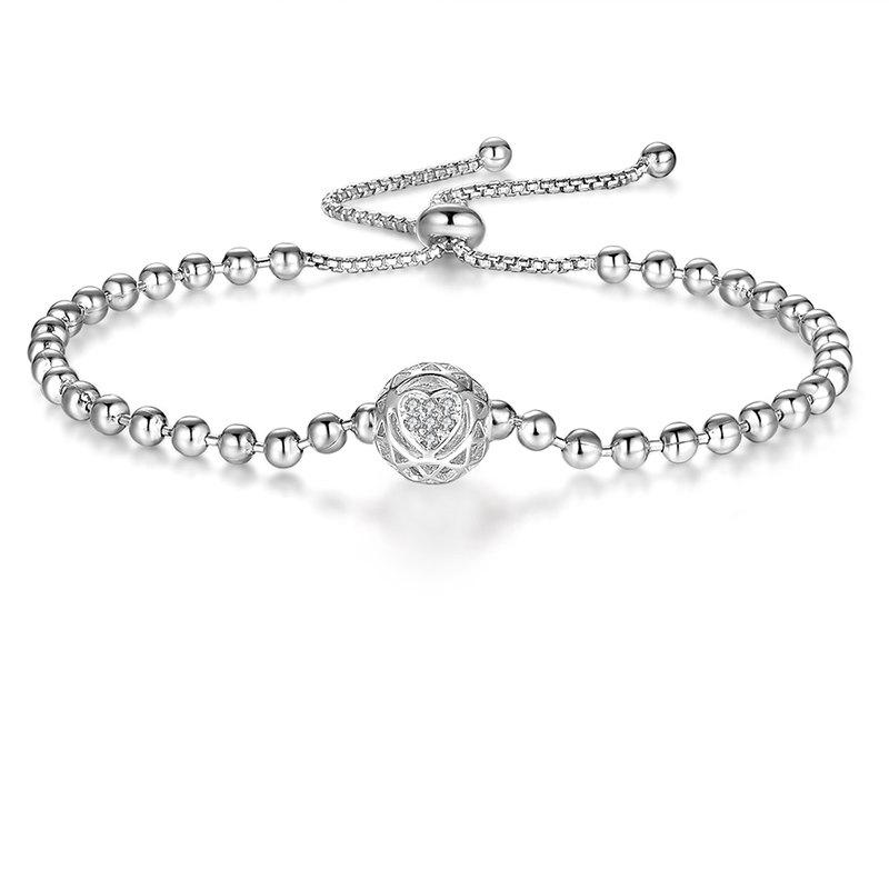 Sterling Silver Love Heart Ball Bracelet
