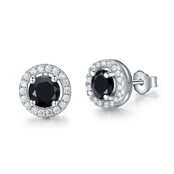 Sterling Silver Black CZ Circle Stud Earrings