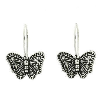 Sterling Silver Antiqued Butterfly Drops