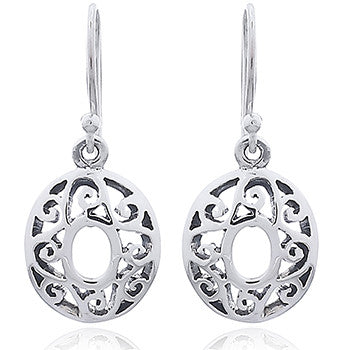 Sterling Silver Celtic Oval Drops