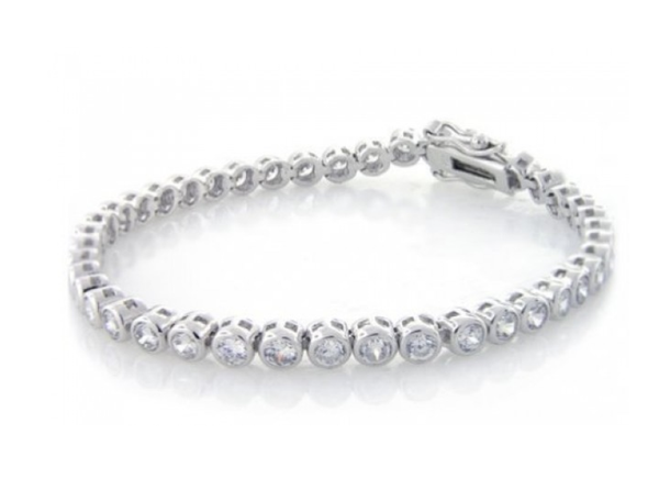 Sterling Silver Circle Diamante Bracelet