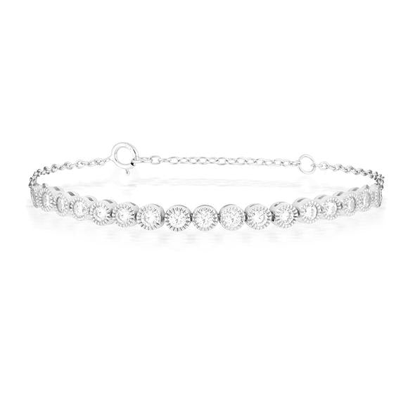 Sterling Silver Circle Diamante Chain Bracelet