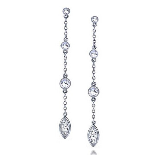 Sterling Silver Diamante Chain Dangle Earrings