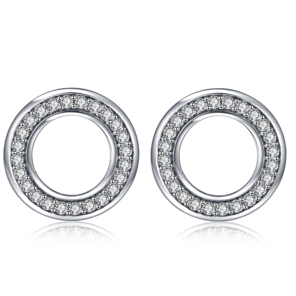 Sterling Silver Diamante Circle Stud