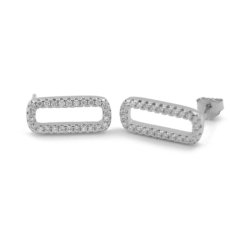 Sterling Silver Diamante Rectangle Studs