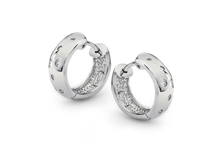 Sterling Silver Diamante Spot Huggie Earrings