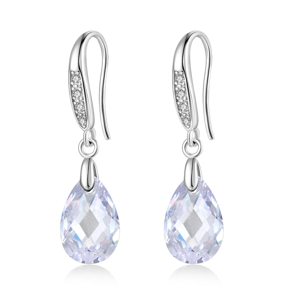 Sterling Silver Drop Diamante Earrings
