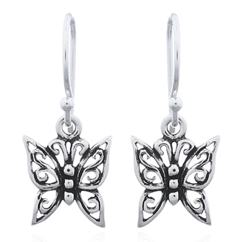 Sterling Silver Ajoure Butterfly Drops