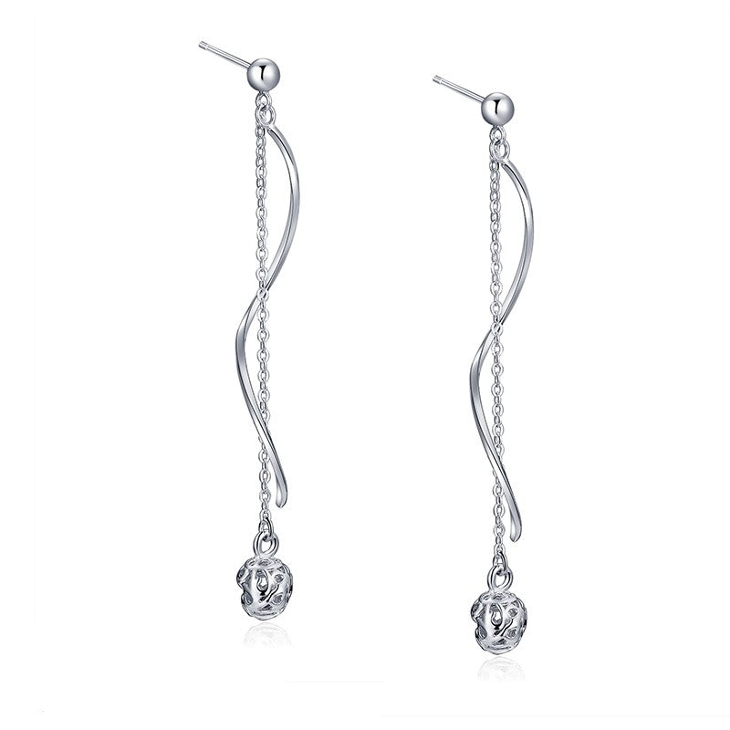 Sterling Silver Twist Chain Dangle with Ball End