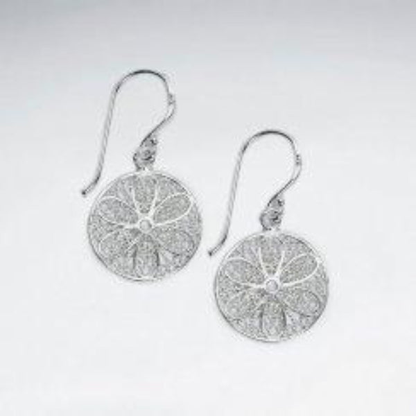 Sterling Silver Smaller Filigree Round Drops