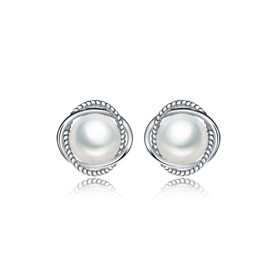 Sterling Silver Pearl Stud Earrings