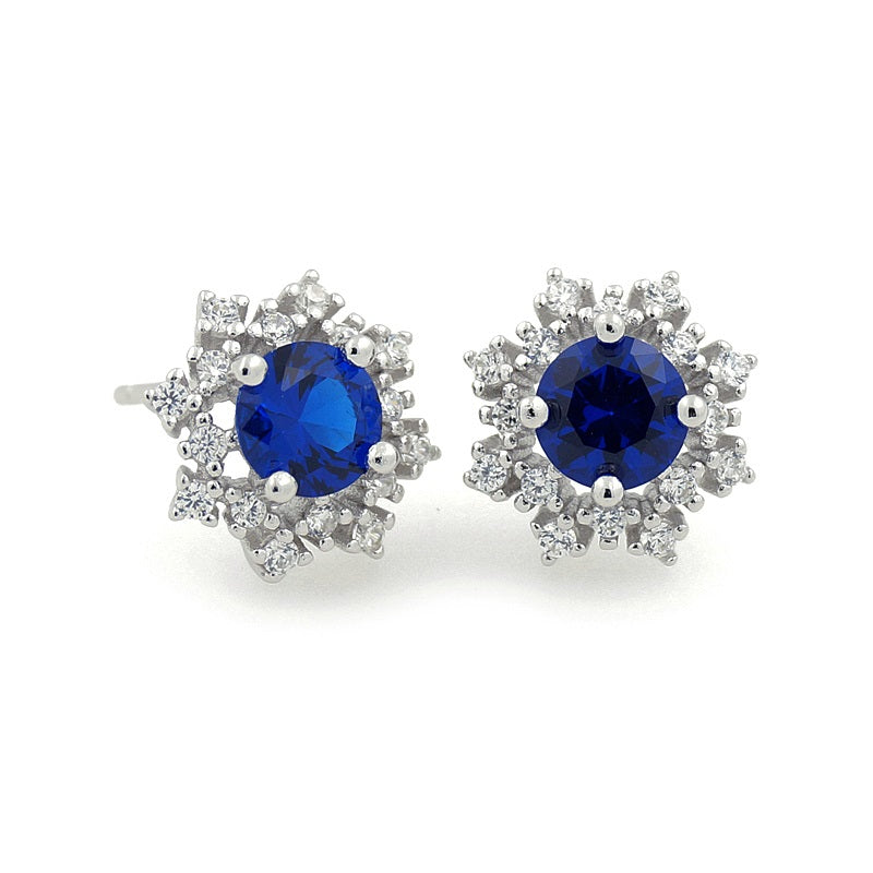 Sterling Silver Blue Stone CZ Stud Earrings
