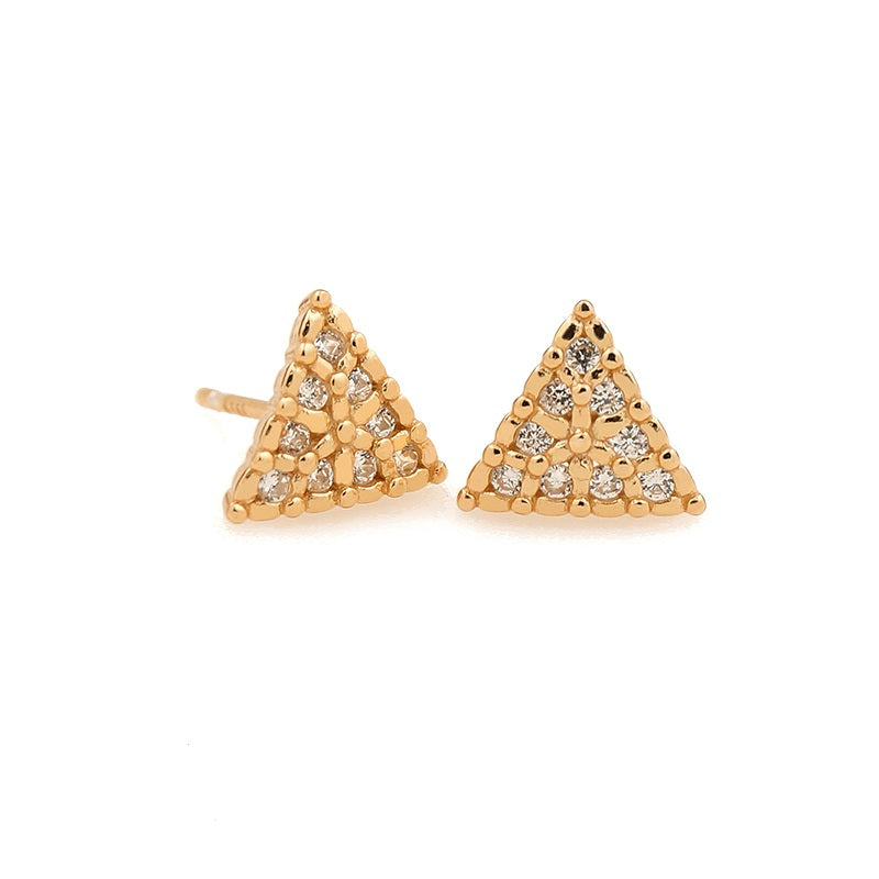 Sterling Silver CZ Triangle Rose Gold Stud Earrings