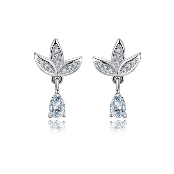 Sterling Silver CZ Leaf Drop Earrings