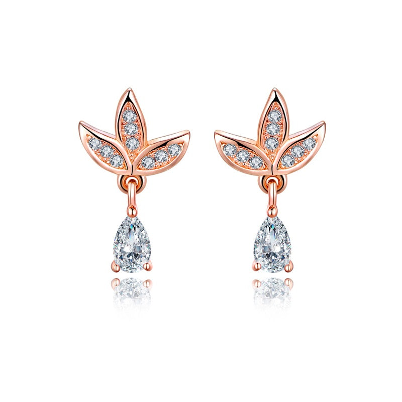 Sterling Silver CZ Leaf Drop Rose Gold Earrings