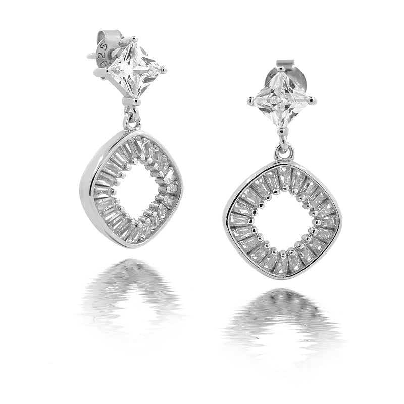 Sterling Silver Stone Diamond Drop Earrings