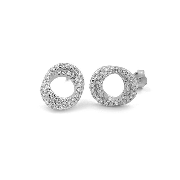 Sterling Silver Two Circle Diamante Earrings