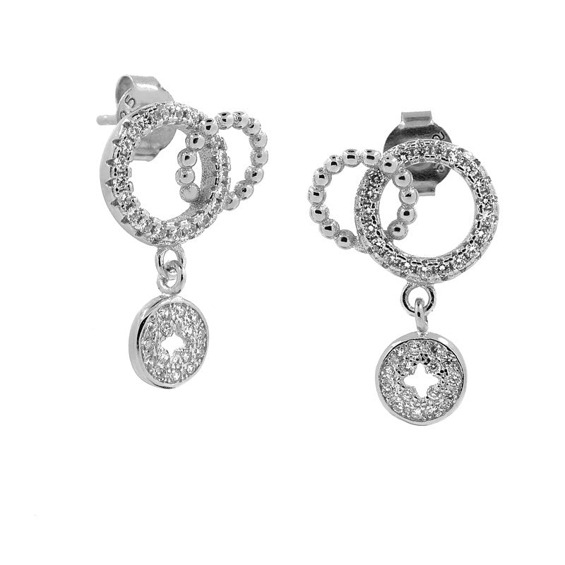 Sterling Silver Two Circle CZ Drop Earrings
