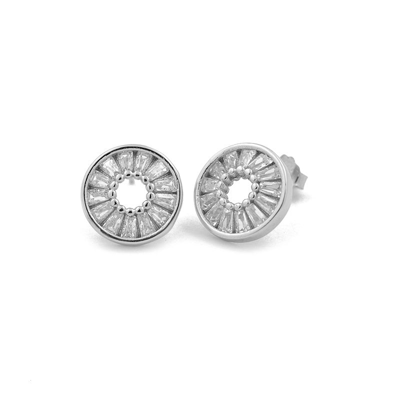 Sterling Silver Circle Sparkle Stud Earrings