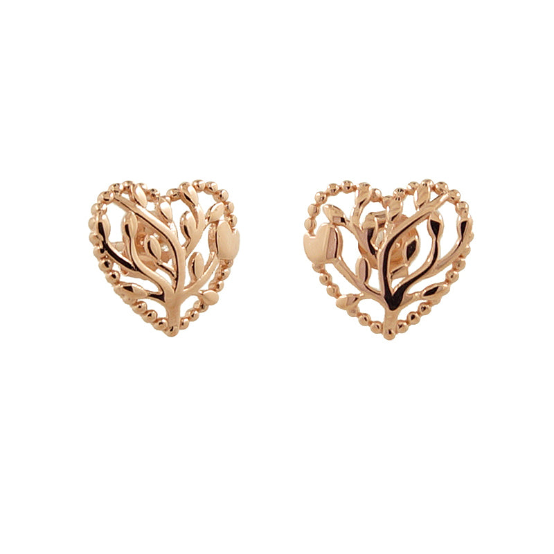 Sterling Silver Heart Tree of Life Studs in Rose Gold