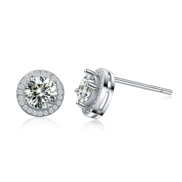Sterling Silver Cubic Zirconia Solitaire Studs