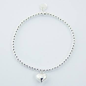 Sterling Silver Puffed Heart Stretch Bracelet