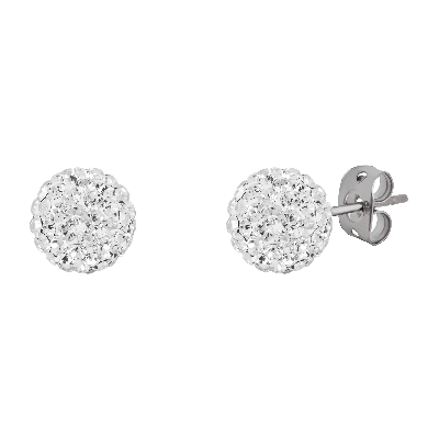 Sterling Silver Crystal 8 mm Ball Studs