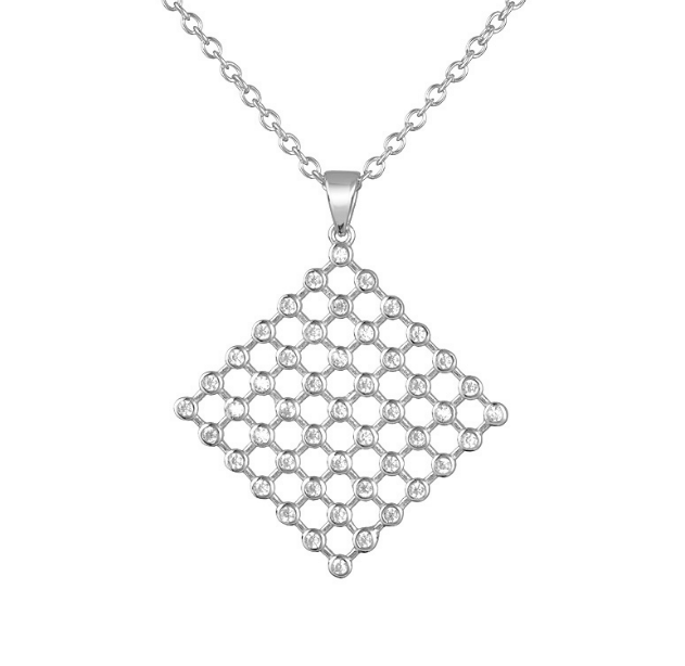 Sterling Silver Diamond Shape Necklace