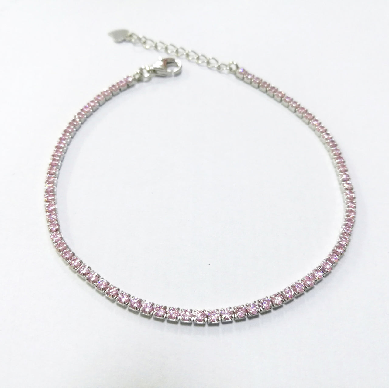Sterling Silver Cubic Zirconia Pink Stone Bracelet