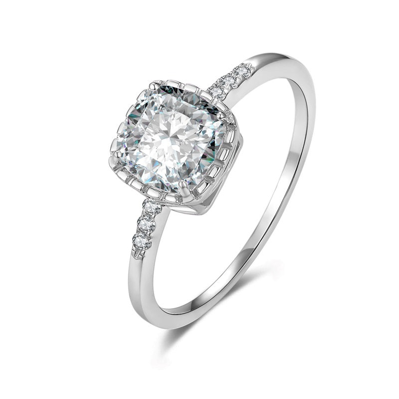 Sterling Silver Large Square CZ Ring