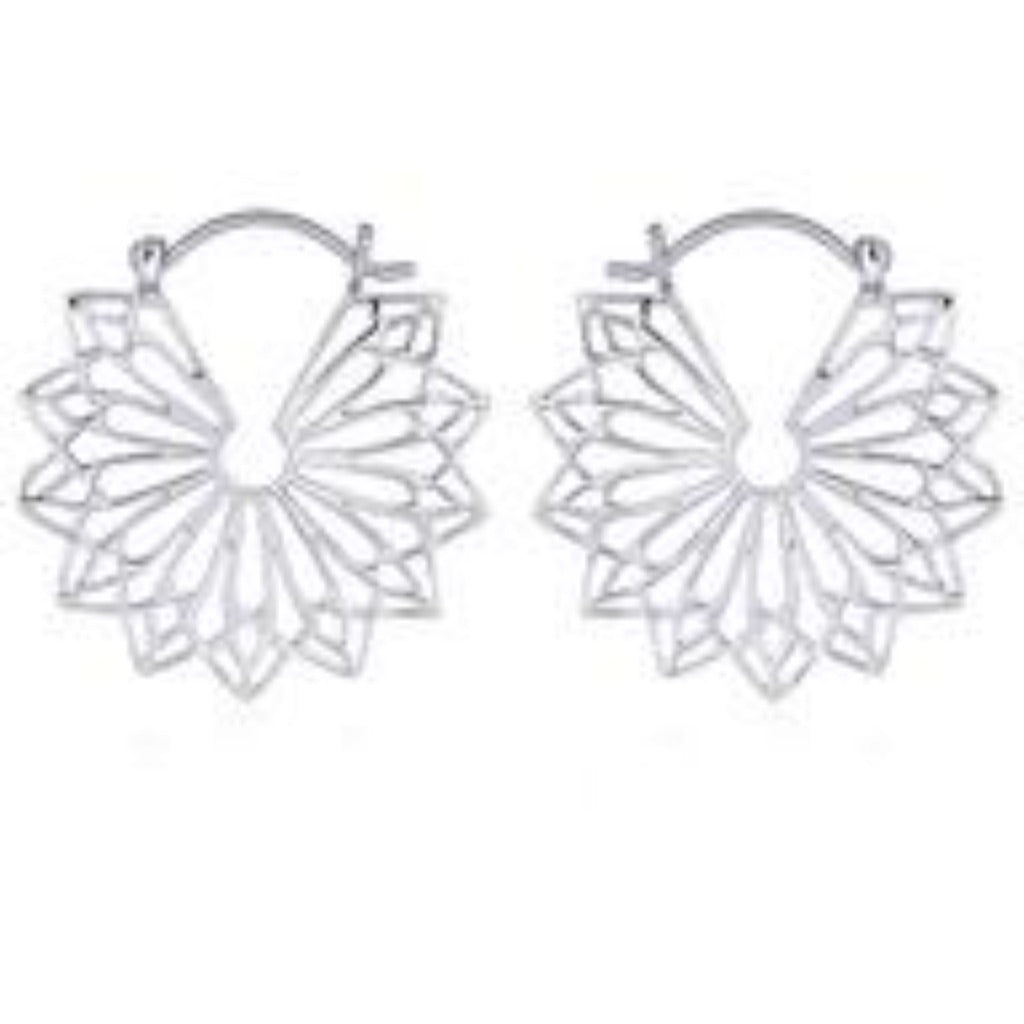 Sterling Silver Mandala Hoop Earrings